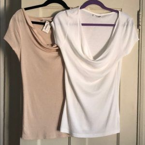 Set of two Michael Stars cowl neck tee shirt